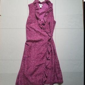 Ann Taylor Loft sleeveless pink wrap dress size 4